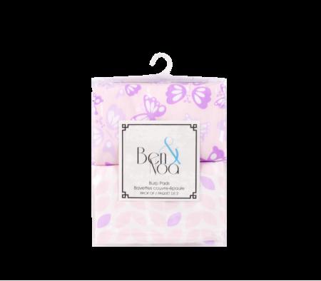 KUSHIES Ben & Noa Percale Burp Pads 2-Pack Pink