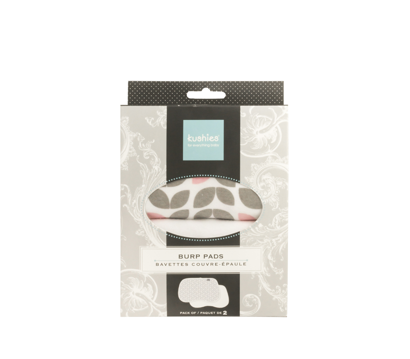 KUSHIES Burp Pads Flannel 2-Pack Petal Grey / White