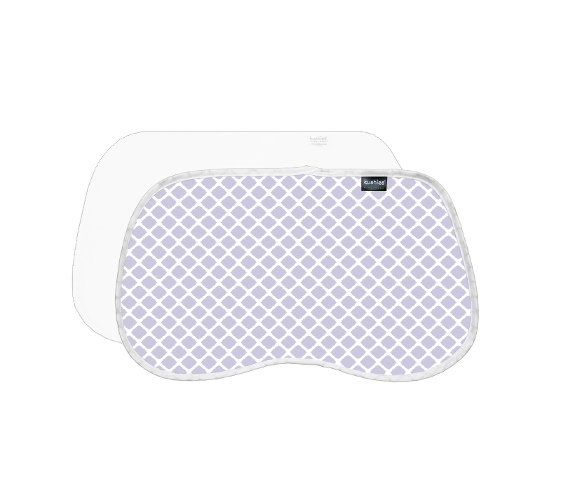 KUSHIES Burp Pads Flannel 2-Pack Lattice Lilac / White