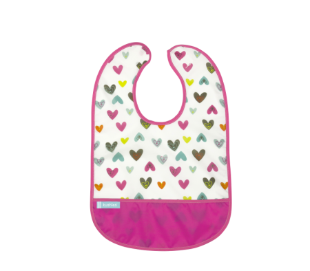 KUSHIES Cleanbib Infant (6-12M) White Doodle Hearts