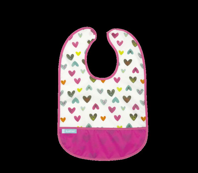KUSHIES Cleanbib Infant (6-12M) White Doodle Hearts