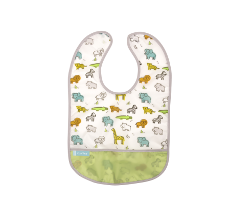 KUSHIES Cleanbib Infant (6-12M)  White Little Safari