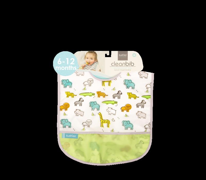 KUSHIES Cleanbib Infant (6-12M)  White Little Safari
