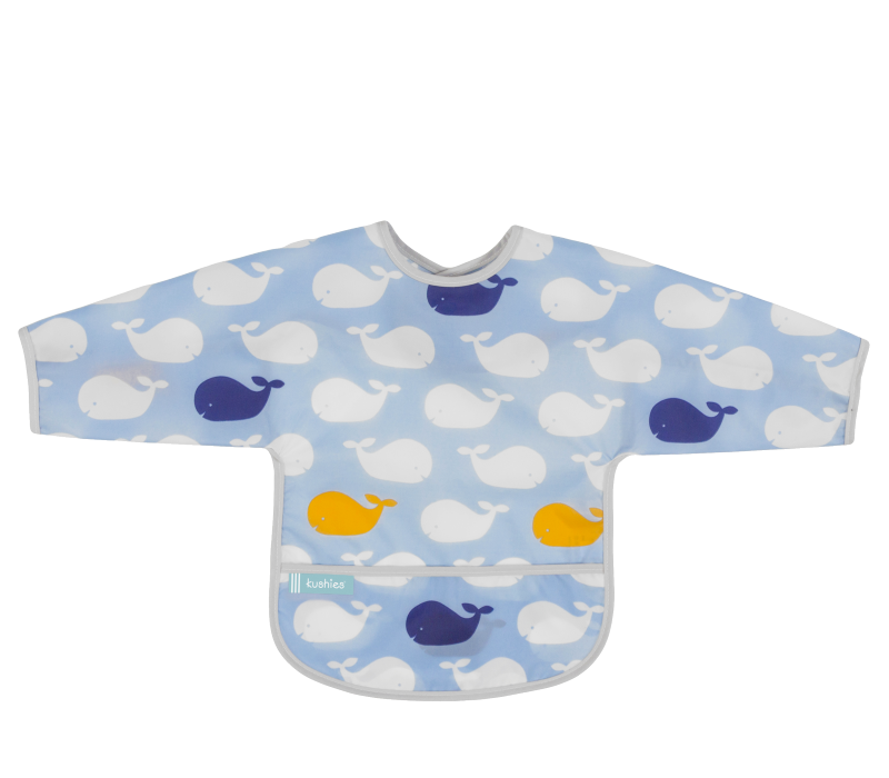 KUSHIES Cleanbib With Sleeves (6-12M)  Blue Whales