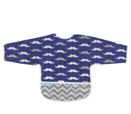 KUSHIES Cleanbib With Sleeves (6-12M)  Navy Mustache