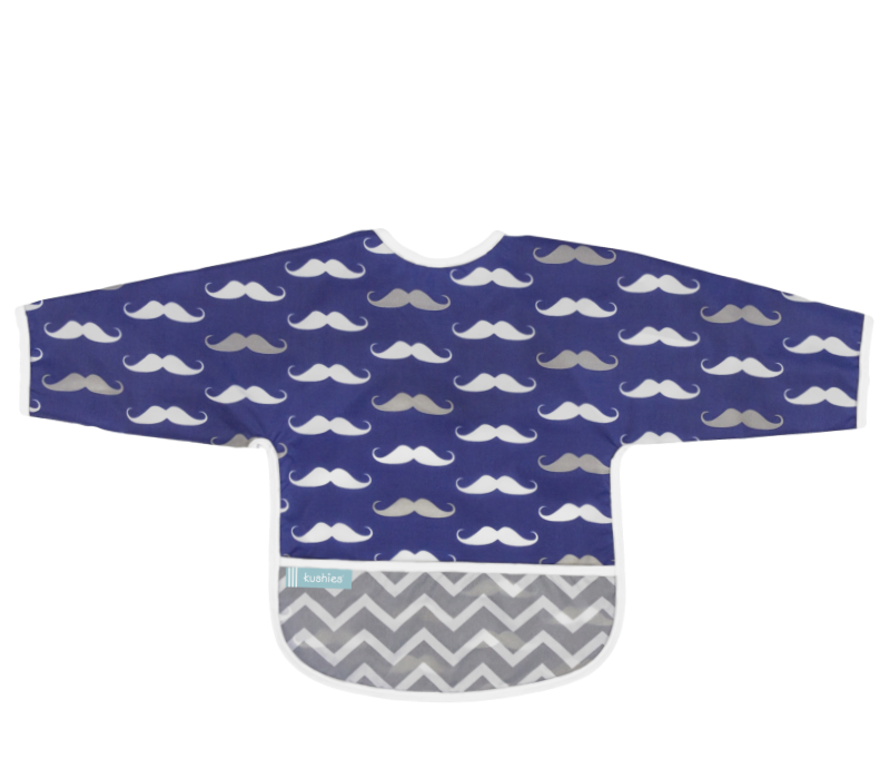 KUSHIES Cleanbib With Sleeves Toddler (12-24M)  Navy Mustache