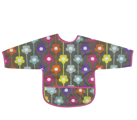 KUSHIES Cleanbib With Sleeves (6-12M)  Charcoal Daisies