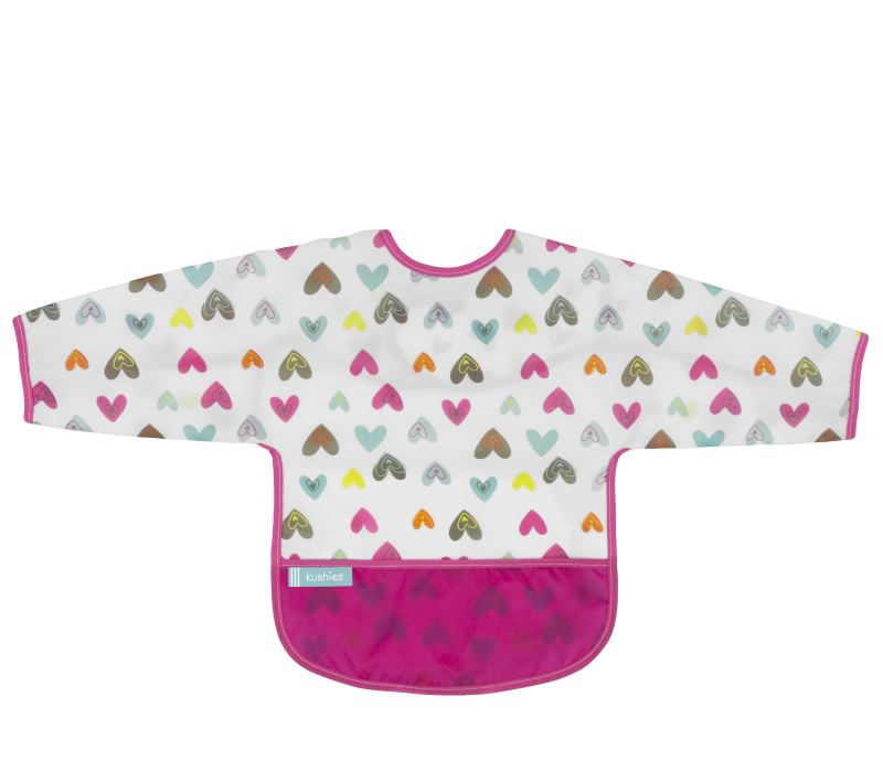 KUSHIES Cleanbib With Sleeves Toddler (12-24M)  White Doodle Hearts