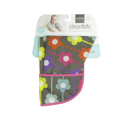 KUSHIES Cleanbib With Sleeves Toddler (12-24M)  Charcoal Daisies