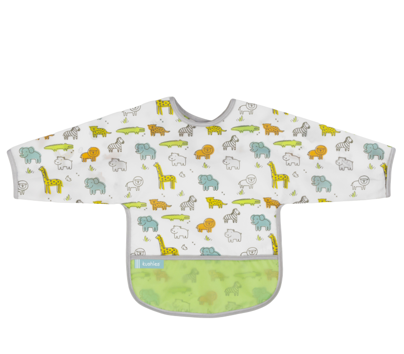 KUSHIES Cleanbib With Sleeves Toddler (12-24M)  White Safari
