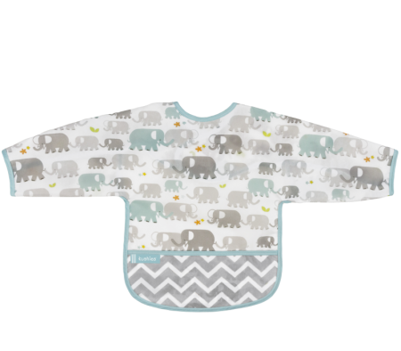 KUSHIES Cleanbib With Sleeves (6-12M)  White Elephants