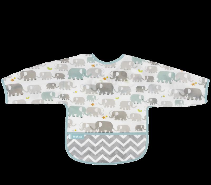 KUSHIES Cleanbib With Sleeves Toddler (12-24M)  White Elephants