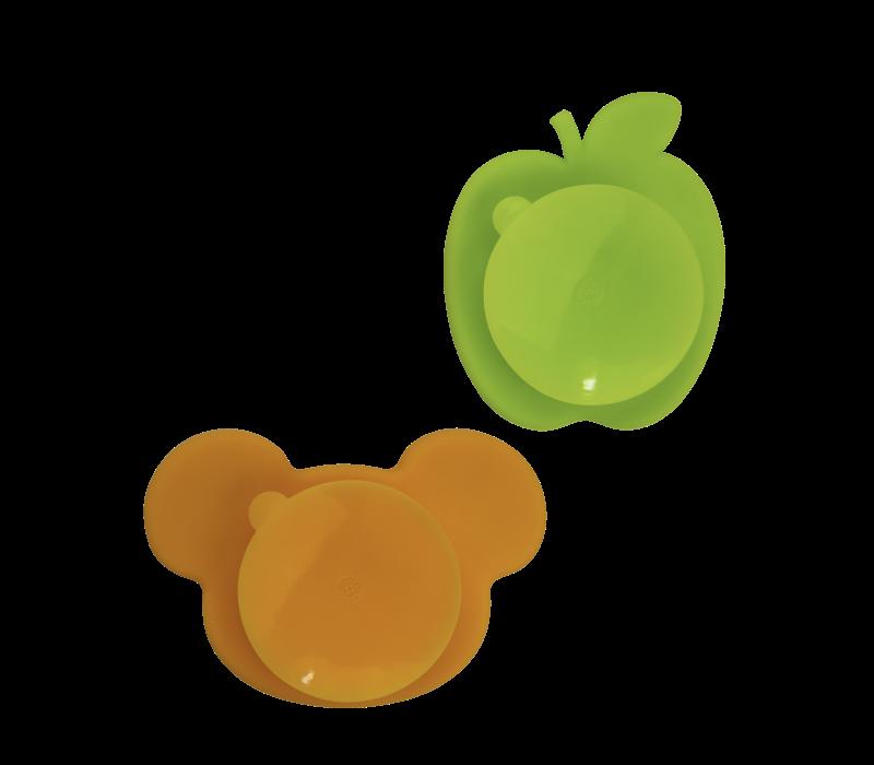 KUSHIES Silidip Silicone Mini Bowl 2-Pack Apple & bear