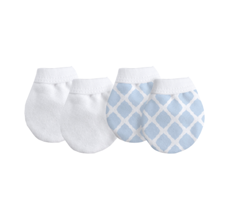 KUSHIES No Scratch Mittens Flannel 2-Pack Lattice Blue