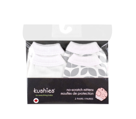KUSHIES No Scratch Mittens Flannel 2-Pack Grey Petal
