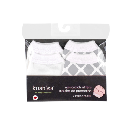 KUSHIES No Scratch Mittens Flannel 2-Pack Neutral