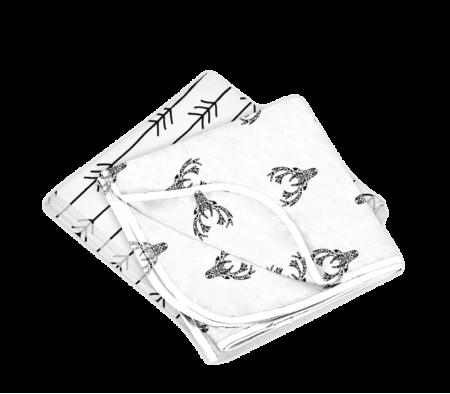 KUSHIES Receiving Blanket 2 Pack Deer / One Direction Black & White