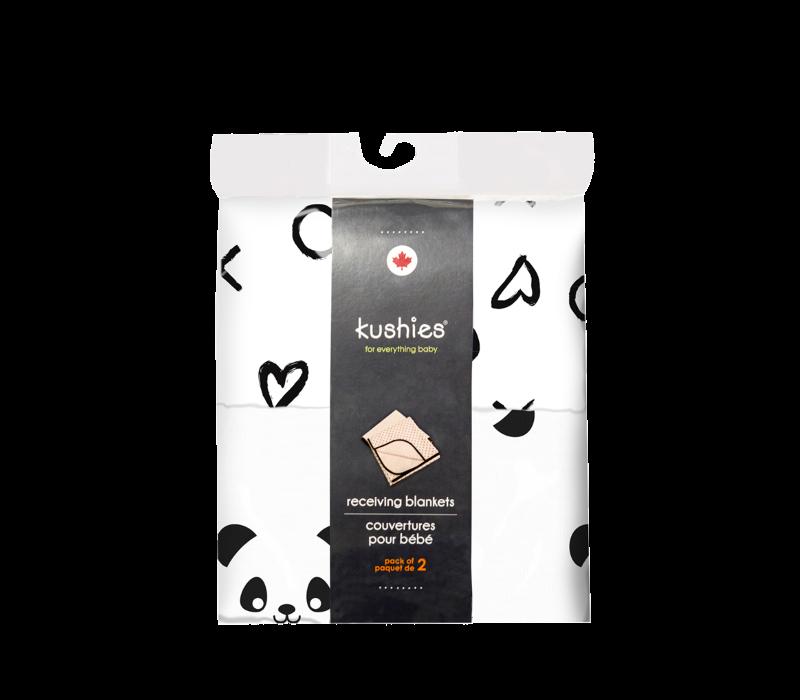 KUSHIES Receiving Blanket 2 Pack Panda / XO Black & White