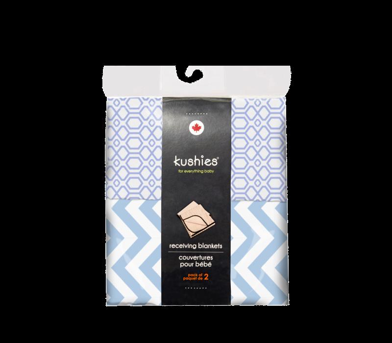 KUSHIES Receiving Blanket 2 Pack Blue Chevron / Blue Octagon