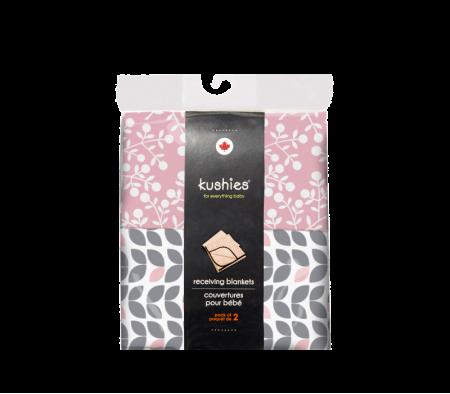 KUSHIES Receiving Blanket 2 Pack Grey Petal / Pink Berries