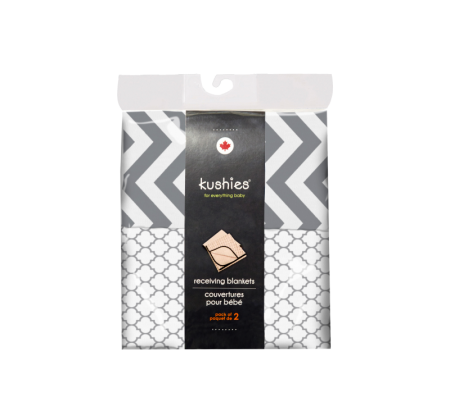 KUSHIES Receiving Blanket 2 Pack Grey Chevron / Ornament Lt. Grey
