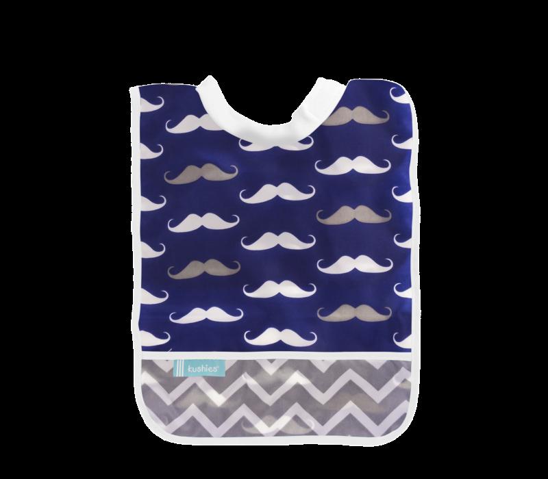 KUSHIES Rib-Neck Waterproof Bib (Infant - Toddler)  Navy Mustache