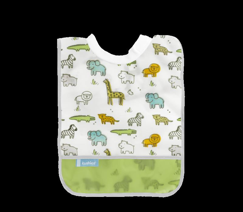 KUSHIES Rib-Neck Waterproof Bib (Infant - Toddler)  White Safari