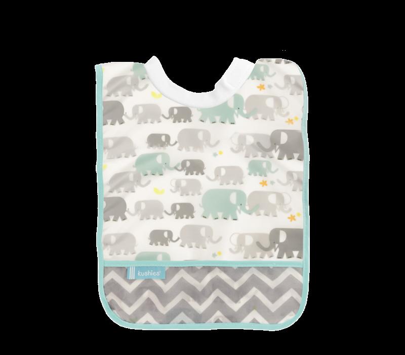 KUSHIES Rib-Neck Waterproof Bib (Infant - Toddler)  White Elephants